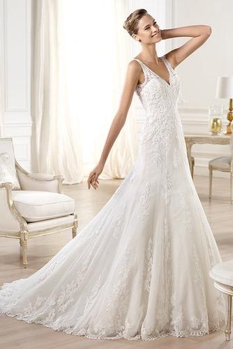 Vestido de novia tul Corte-A Escote en V Espalda medio descubierto largo - Página 1