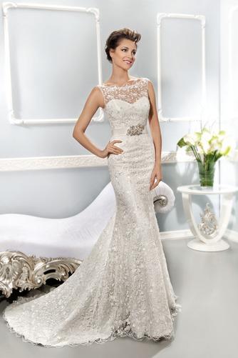 Vestido de novia Corte Sirena Cremallera Barco Natural Otoño Cola Capilla - Página 1