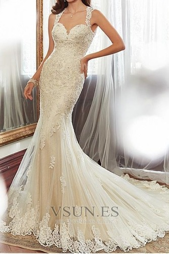 Vestido de novia Espalda medio descubierto Escote Corazón largo Encaje - Página 1