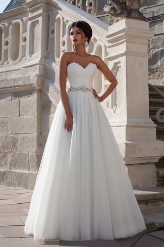 Vestido de novia Elegante Sin mangas Apliques Corte-A Natural Escote Corazón - Página 1