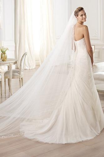 Vestido de novia tul Con velo largo Plisado Sala Natural - Página 2