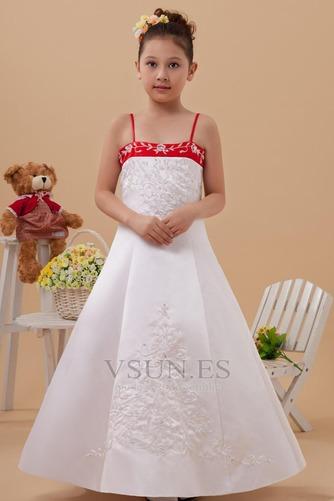 Vestido niña ceremonia Natural Marfil 14 Años de edad Sin mangas Corte-A Satén Elástico - Página 1
