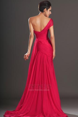 Vestido de noche rojos cereza Gasa Delgado largo Escote Asimètrico - Página 6