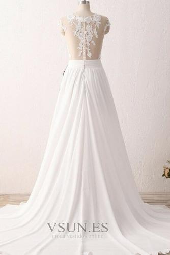 Vestido de novia Encaje Natural Manga tapada Escote con Hombros caídos - Página 4