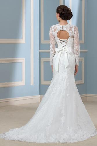 Vestido de novia Corte Recto Otoño Elegante Cordón Queen Anne Volantes Adorno - Página 3