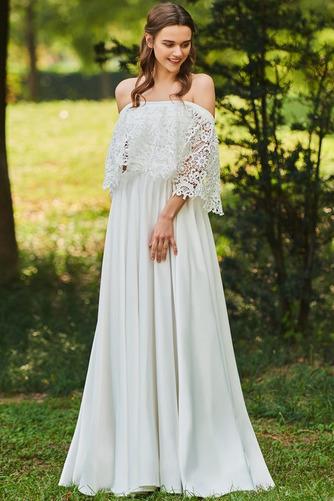 Vestido de novia Apliques Encaje Escote con Hombros caídos Tallas pequeñas - Página 1