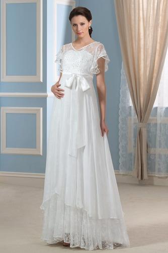 Vestido de novia Asimètrico Escote en V Fuera de casa Fajas Asimétrico Dobladillo - Página 1
