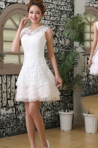 Vestido de novia Playa Corte-A Hasta la Rodilla Encaje Cremallera tul - Página 1