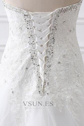 Vestido de novia Abalorio Escote Corazón Iglesia largo Cordón Natural - Página 5