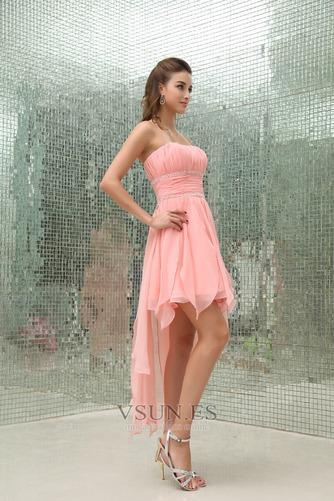 Vestido de cóctel Natural Abalorio Informal Falta Sin tirantes Asimétrico Dobladillo - Página 3