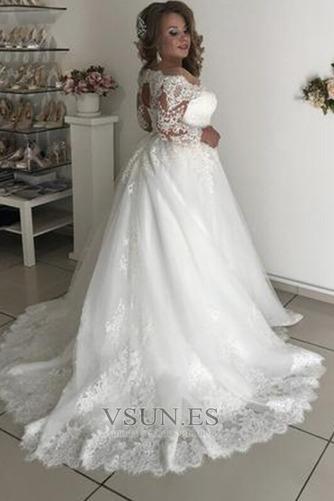 Vestido de novia Playa Formal tul Rectángulo Apliques Mangas Illusion - Página 3