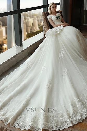 Vestido de novia Satén Escote con Hombros caídos Sala primavera Manga corta - Página 4