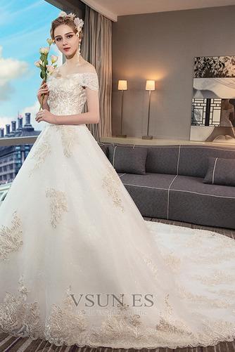 Vestido de novia Natural Manga corta Escote con Hombros caídos Iglesia - Página 4