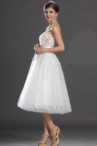 Vestido de novia Romántico tul Blanco Hinchado Abalorio Natural - Página 5