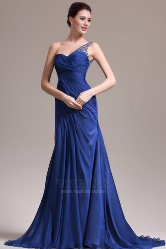 Vestido de noche Sin mangas Elegante azul medianoche Pura espalda Un sólo hombro - Página 2