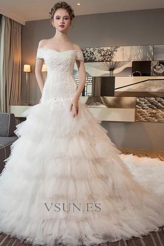 Vestido de novia Cola Real Falta Natural Cordón Camiseta Corte-A - Página 1