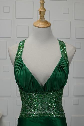 Vestido de noche Natural Corte-A Corpiño Acentuado con Perla Falta Satén Elástico - Página 4