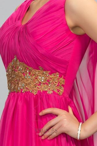 Vestido de noche Escote en V Blusa plisada Natural largo Formal Gasa - Página 5