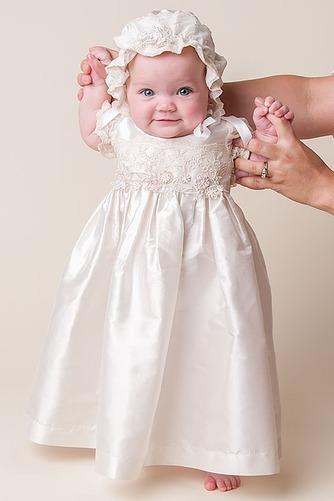 Vestido de Bautizo Joya Hasta el suelo Satén Alto cubierto Corte princesa - Página 3