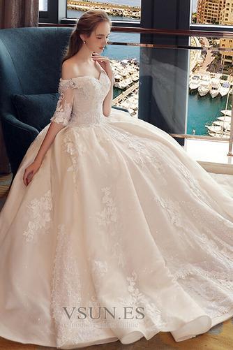 Vestido de novia Elegante Recatada Hasta el suelo Escote con Hombros caídos - Página 5