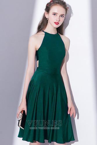 Vestido de cóctel Elegante Falta Corte-A Natural Sin mangas Hasta la Rodilla - Página 4