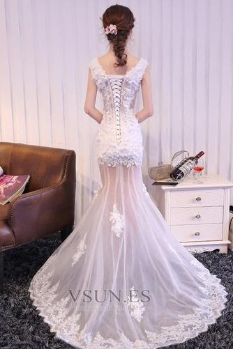 Vestido de fiesta Corte Sirena Sin mangas Flores Transparente tul Falta - Página 3