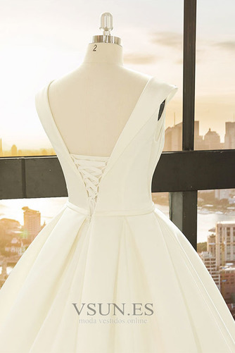 Vestido de novia primavera Baja escote en V Corte-A Drapeado Satén Escote en V - Página 5