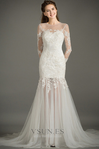 Vestido de novia Natural Abalorio Joya Capa de encaje Cremallera Camiseta - Página 1