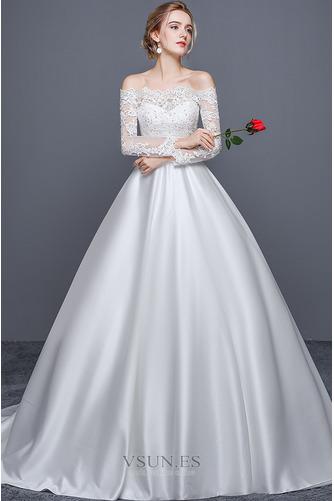 Vestido de novia Escote con Hombros caídos Cremallera Corte-A Iglesia - Página 3