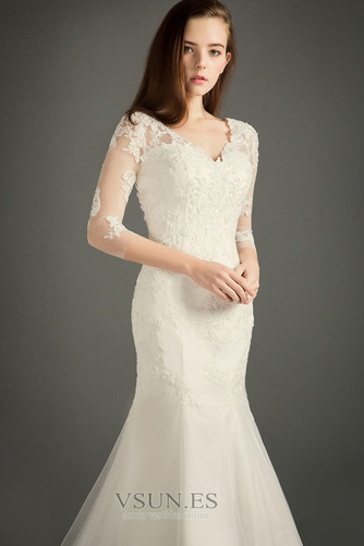 Vestido de novia Iglesia Corte-A Otoño Cremallera largo tul - Página 3