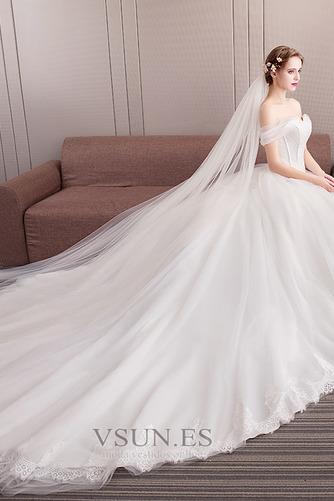 Vestido de novia Formal Manga tapada Capa de encaje Corte-A Natural - Página 5
