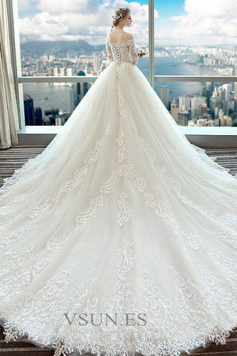Vestido de novia Natural Sala Encaje Cordón primavera Mangas Illusion - Página 3