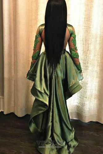 Vestido de fiesta Capa de encaje Escote con cuello Alto Asimétrico Dobladillo - Página 2