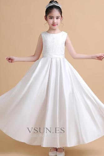 Vestido niña ceremonia Satén Joya Elegante primavera Hasta el Tobillo Encaje - Página 1