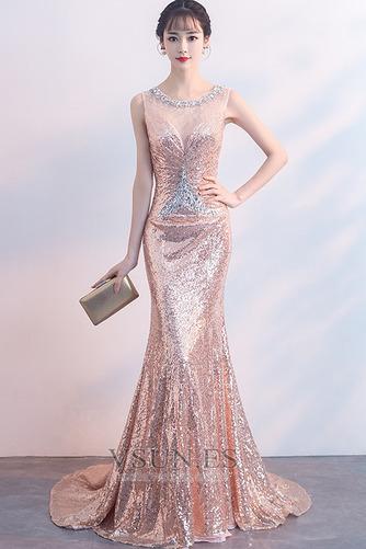 Vestido de fiesta Cremallera Natural Joya Corte Sirena Corpiño Acentuado con Perla - Página 1