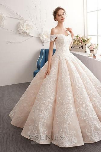 Vestido de novia Natural Corte-A Escote con Hombros caídos Pera Capa de encaje - Página 3