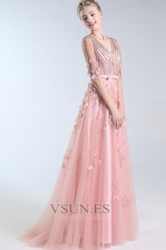Vestido de fiesta Escote en V Elegante Corpiño Acentuado con Perla Natural - Página 1