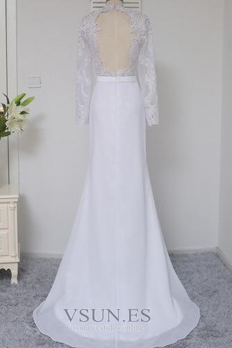 Vestido de novia Satén Elástico Mangas Illusion Hasta el suelo Corte Sirena - Página 5