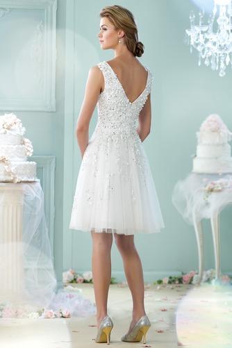 Vestido de novia Informal Natural Sin mangas Verano Abalorio Escote en V - Página 2