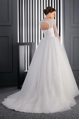 Vestido de novia Manga larga Iglesia Mangas Illusion Cristal tul Corte princesa - Página 2