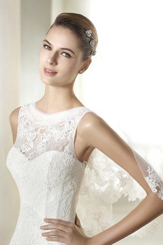 Vestido de novia Barco largo Natural Otoño Encaje Sin mangas - Página 3