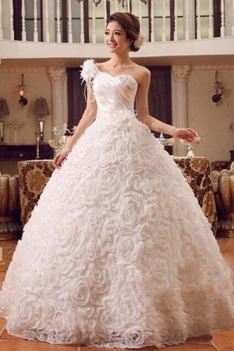 Vestido de novia Colores Sala Flores largo Un tirante con flor Sin mangas - Página 2