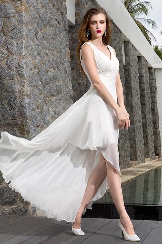 Vestido de novia Asimétrico Dobladillo Escote en V Corte-A Sin mangas - Página 3