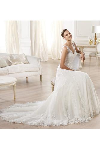 Vestido de novia tul Corte-A Escote en V Espalda medio descubierto largo - Página 3