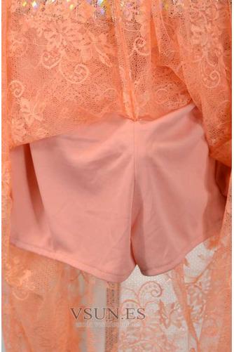 Vestido de fiesta Abalorio Corte-A Elegante Natural Encaje Rectángulo - Página 5
