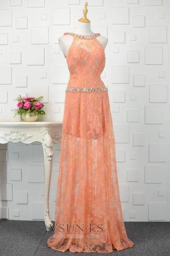 Vestido de fiesta Abalorio Corte-A Elegante Natural Encaje Rectángulo - Página 2
