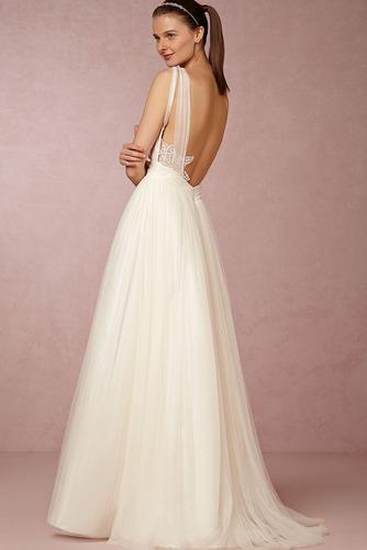 Vestido de novia Informal Apliques Sin mangas Espalda Descubierta Natural - Página 4
