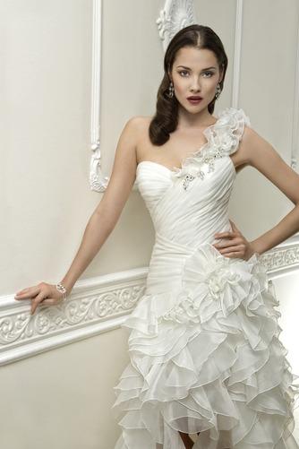 Vestido de novia Corte-A Cintura Baja Botón Satén Un sólo hombro Alto Bajo - Página 3