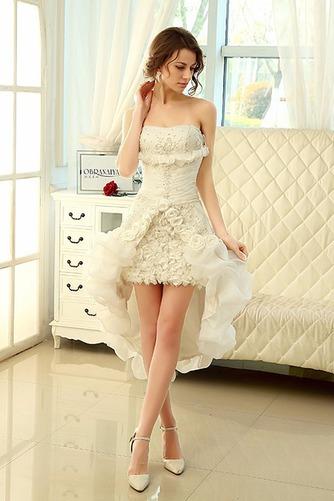 Vestido de novia Sin tirantes Sin mangas Asimètrico Apertura Frontal - Página 4