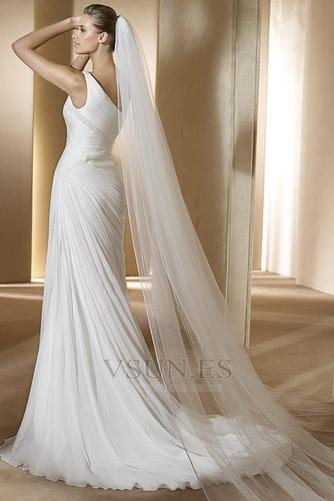 Vestido de novia Gasa Verano Sin mangas Corte Recto Hasta el suelo gris claro - Página 2